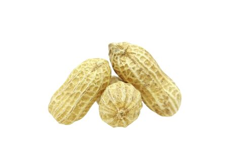 Three peanuts with texture isolated on white background. Dried peanuts for snack in closeup
