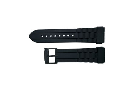closeup black strap watch isolated on white background. Black rubber watch band