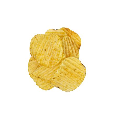 Pile potato chips isolated on white background. Tasty fried potato slices in closeup