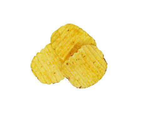 Three crispy potato chips isolated on white background. Tasty fried potato slices in closeup