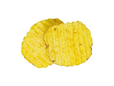 Two crispy potato chips isolated on white background. Tasty fried potato slices in closeup