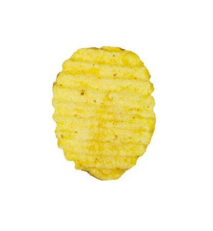 Single crispy potato chip isolated on white background. Tasty fried potato slices in closeup 免版税图像