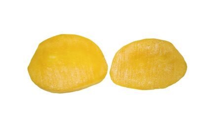 Mango slices isolated on white background. A fresh mango ready to eat