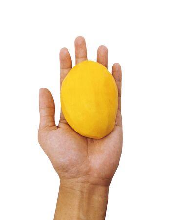 Single peeled mango in the palm isolated on white background. Yellow mango fruit in closeup