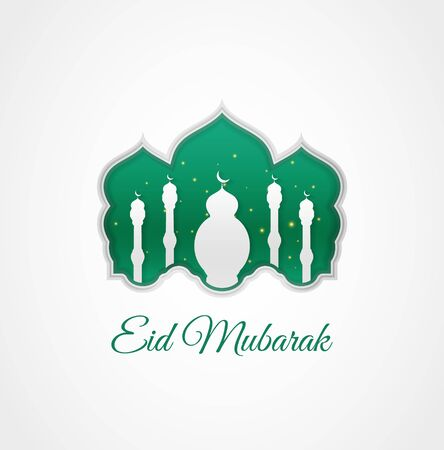Eid mubarak design can be used for greeting card, poster and banner. Modern and beautiful Islamic decoration with paper cut style and combined with an attractive green color