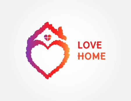 Colorful love home symbol. Heart sign and house icon. Vector illustration isolated on white background