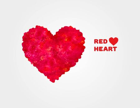 Abstract red heart paint isolated on white background. Watercolor painted vector heart shape. Creative and stylish design for banner, background, card and social media