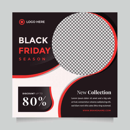 Creative and elegant Black friday season sale social media post and web banner template for digital marketing. Trendy editable template for promotion product
