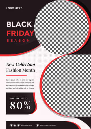 Black friday season flyer template with 2 (two) image placeholder. Creative and modern fashion Sale design with A4 Size