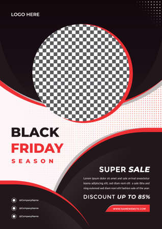 Black friday season flyer template. Creative and modern fashion sale design with A4 Size 矢量图像