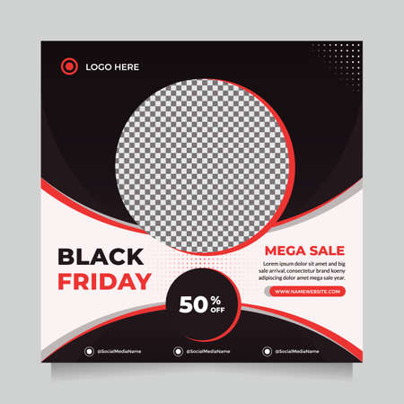 Black friday season sale social media post and web banner template for digital marketing. Trendy editable template for promotion product