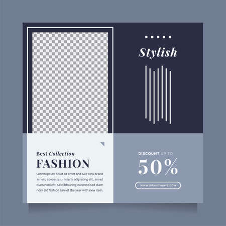 Stylish blue fashion sale design social media post and web banner template for digital promotion. Editable promotion design brand fashion and other product.