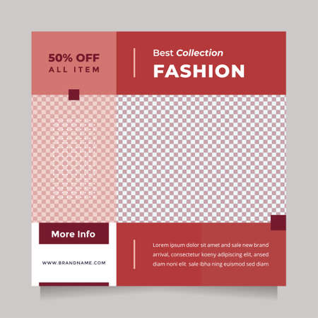Modern red fashion sale design social media post and web banner template for digital marketing. Editable promotion design brand fashion and other product. 矢量图像