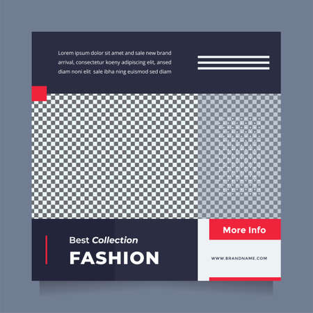 Minimalist and stylish blue red design social media post and web banner template for digital marketing. Editable promotion design brand fashion and other product.