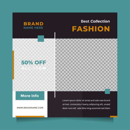 Stylish and modern black design social media post promotion template and web banner template. Editable promotion design brand fashion and other product.