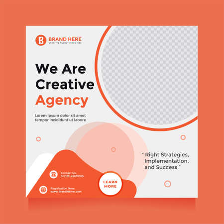 Modern and clean creative agency design social media post and banner template promotion. Digital marketing agency, square flyer template, editable white and orange color web banner design promotion