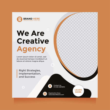 Trendy and clean creative agency design social media post and banner template promotion. Digital marketing agency, square flyer template, editable white, black, and orange  color web banner design