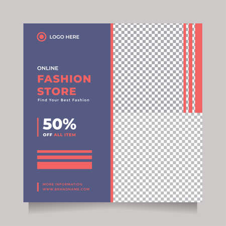 Modern and creative blue red design social media post and banner template promotion brand fashion with two image placeholder
