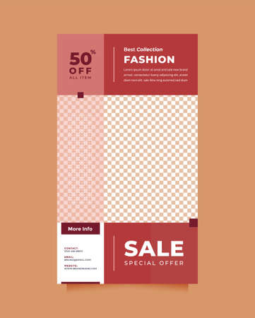 Modern and creative red design social media post and story template promotion brand fashion. Simple, stylish and minimal designs for invitations, banners, covers and flyer