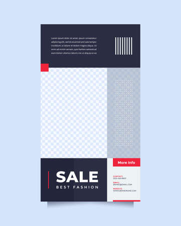 Clean and minimalist blue red social media post and story template promotion brand fashion. Simple, stylish and minimal designs for invitations, banners, covers and flyer