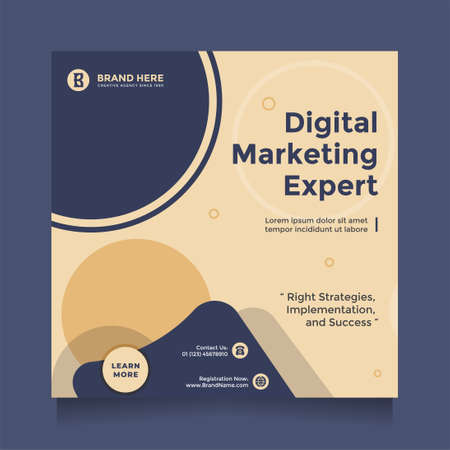 Creative and modern digital business marketing social media post and banner promotion. Digital marketing expert, square flyer template, editable web banner post template