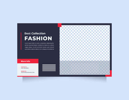 Minimalist and creative design web banner template for digital promotion. Trendy and Modern blue red design social media banner specially fashion product