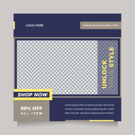 Creative design social media post and web banner template for digital marketing. Editable promotion design brand fashion 矢量图像
