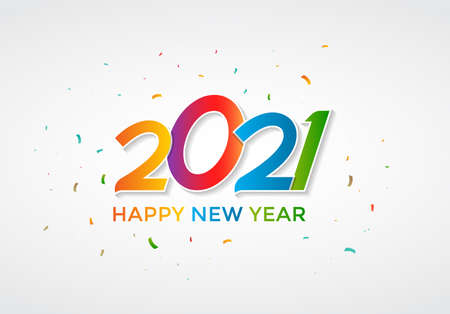 Colorful Happy New Year 2021 lettering on white background with confetti. Decorative Happy New Year greeting with handwritten text for wallpaper, background, banner, poster and card