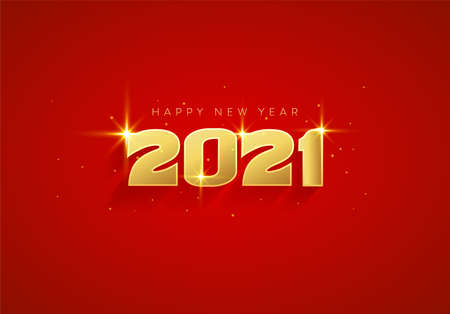 Luxury Happy New Year 2021 text design with elegant gold color on red background. Beautiful Golden 2020 greeting design for wallpaper, background, banner, poster and card. 矢量图像