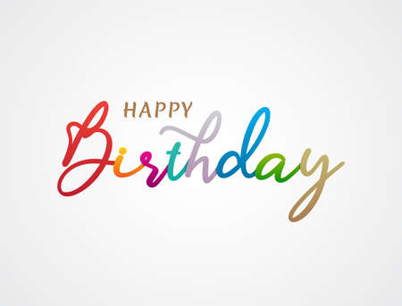 Colorful Happy Birthday Greeting text. Beauty happy birthday with handwritten text lettering