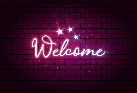 Welcome text vector design on dark brick wall texture background. Modern Glowing neon Style with handwritten text lettering 矢量图像