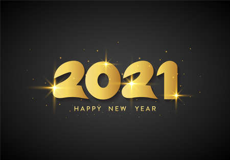 Elegant and luxury Happy New Year 2021 lettering with gold color on black background. Beautiful Golden Happy New Year greeting design for wallpaper, banner, poster and card.