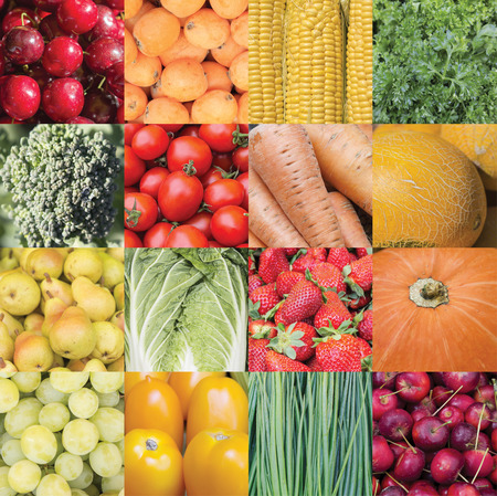 Collage of untreated raw plant foods. Natural food pattern.