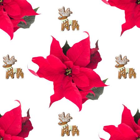 Poinsettia seamless pattern. Christmas endless background