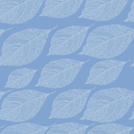 Seamless leaves pattern. Blue and white background.