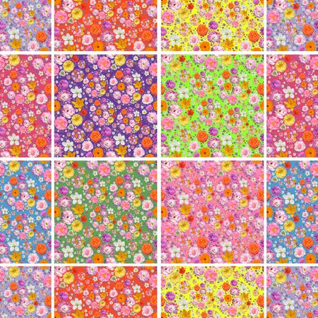 Seamless floral pattern similar to patchwork