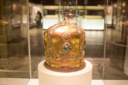 MOSCOW; RUSSIA - DECEMBER 13; 2017:  The State Historical Museum.; The largest museum of national history of the Russia; is located on Red Square. Miter of Metropolitan Gideon Chetvertinsky. Russia, Moscow, 1685. Workshops of the Moscow Kremlin. Gold, sil