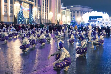 Russia, Moscow, January 2, 2020: New Year celebration on Mohovaya street. Festival