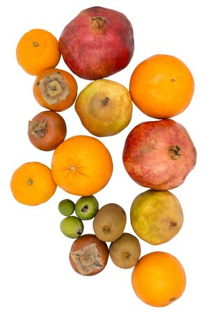 Lots of different fruits. Group of fruits isolated on a white background, top view.