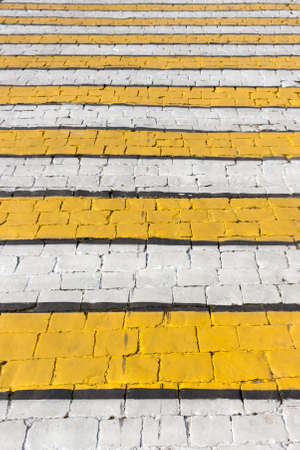 Colorful pavement on the Moscow street. Pedestrian crosswalk.