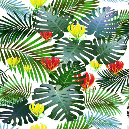 Toucan tropical bird in a thicket of tropical flowers, palm trees, monster. Seamless pattern.Vector Illustration