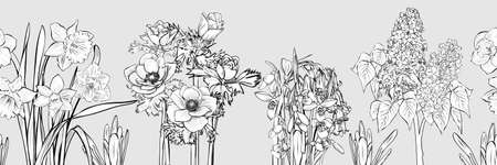 Vector hand-drawn primroses, black and white wreath made of flowers. Wreath illustration made of flowers and herbs. Spring elements. Freesia, Snowdrop, lilacs, anemones, narcissus Illustration