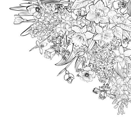 Vector handgezeichneten Primeln, schwarz und weiß Kranz aus Blumen. Kranz Illustration aus Blumen und Kräutern. Die Federelemente. Freesie, Schneeglöckchen, Flieder, Anemonen, Narzissen