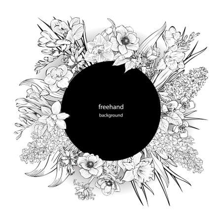 Vector hand-drawn primroses, black and white wreath made of flowers. Circle decoration. Wreath illustration made of flowers and herbs. Spring elements. Freesia, Snowdrop, lilacs, anemones, narcissus