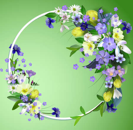 spring primroses card with space for text in a round frame. spring background flowers
