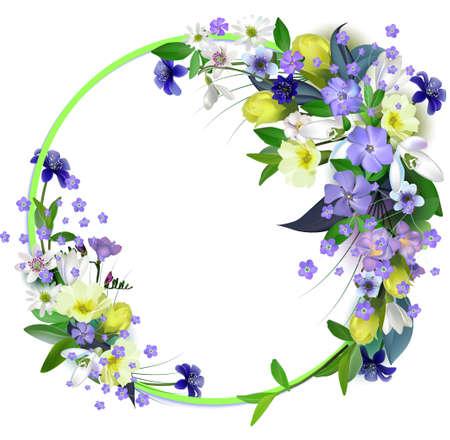ressort carte primevères avec espace pour le texte dans un cadre rond. fleurs du printemps de fond
