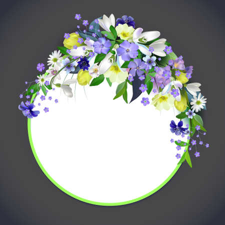 spring primroses card with space for text in a round frame. spring background flowers.Vector