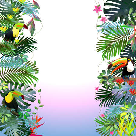 Toucans in the tropical forest of exotic flowers.For design postcards, brochures, banners, advertising