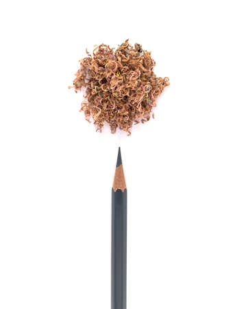 Pencil shavings and pencil on a white background, Creative concept. 写真素材