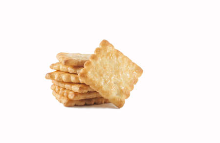 Closeup view of stack of cookies on white background Standard-Bild